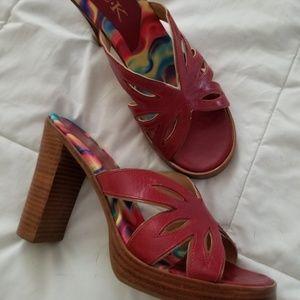 05e8f7ed9358 Skechers by Michelle K Red block heel sandal